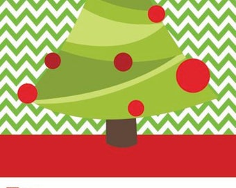 Christmas Tree on Green Chevron Gift Tag