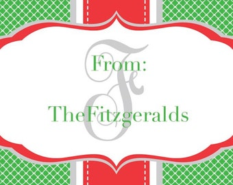 Personalized Green Quatrefoil and Red Stripe with Monogram