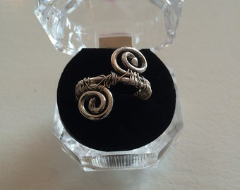 Fine Silver Wire Wrapped Curled Ring