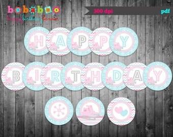 Ice Skating Happy Birthday Banner/ Ice Skating Birthday Banner Digital/Ice Skating Banner/Printable Banner/ Birthday Banner/Party Printable