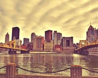 Pittsburgh Photography - Andy Warhol Bridge & Roberto Clemente Bridges - Landscape Photography - Cityscape - Fine Art Photography Print