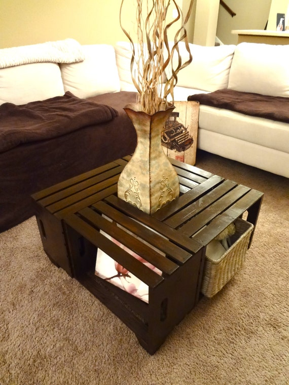 Items similar to Shabby chic handmade crate coffee table rustic