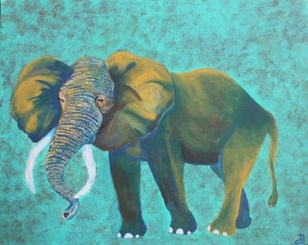 Giclee PRINT 5x7 Greeting Card Abstract African Elephant Painting Acrylic Colorful Bold Animal Art Nature Wildlife Contemporary
