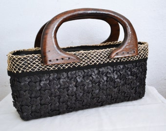Free Ship Woven Wicker Purse Black with Wood Handles