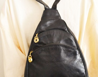 Free Ship,Perlina,backpack bag, Black, Leather ,Back pack