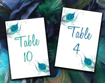INSTANT DOWNLOAD Peacock Table Number Cards Microsoft Word Template - Peacock Feathers Wedding Table Number - Blue Green Peacock