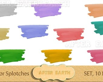 Watercolor Splotches digital clipart set, hand painted for paper crafts, card making, scrapbooking, web design, DIY