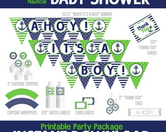 Navy, Green Nautical Boy Baby Shower Package, Banner, Cupcake toppers and wraps, Thank You tags and cards, Food labels, ( PDN013 )