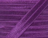 Plum Purple Fold Over Elastic - Elastic For Baby Headbands and Hair Ties - 5 Yards of 5/8 inch FOE