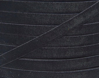 Black 3/8 inch Velvet Elastic - Elastic For Baby Headbands and Hair Ties - 5 Yards of 3/8 inch Velvet FOE