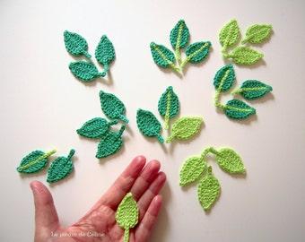 Blätter - set von 12 - gehäkelt aus Baumwolle