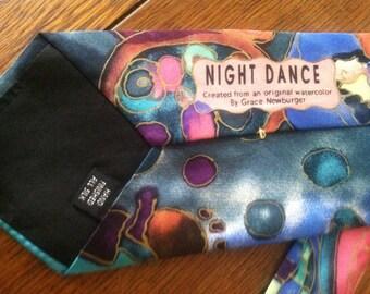 "SALE!! Was 75.00 now 60.00. Designer silk necktie from original water color ""Night Dance"" by Grace Newburger"