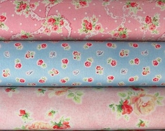 Mary Rose Sweet Charms Pink and Blue Fat Quarter Bundle of 5 by Quilt Gate