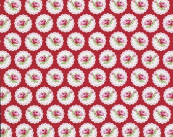SALE - 1 Yard - Tanya Whelan Valentine Rose, Cameo Heart in Red, Freespirit PWTW078