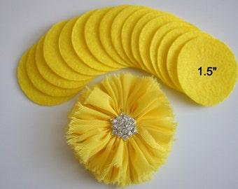 """25 Yellow Felt 1.5"""" Circles - 1.5"""" Felt Circles - Flower Backing - Yellow Felt Circles"""