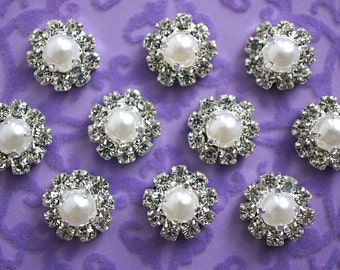 Set of 2 - 12mm Pearl and Clear Rhinestone Buttons - Rhinestone Buttons - Flower Centers - Mini Rhinestone Buttons Metal Rhinestone Button