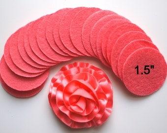 """25 Pink Coral Felt 1.5"""" Circles - 1.5"""" Felt Circles - Flower Backing - Pink Coral Felt Circles"""