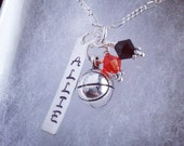 Sporty Girl Basketball Personalized Hand Stamped Name Necklace