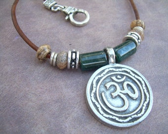 Om Necklace, Ohm Necklace,  Leather Necklace, Om Pendant, Mens Necklace, Womens Necklace, Gemstone Beads, Mens Jewelry, Womens Jewelry