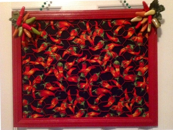 Items Similar To Chili Pepper Memo Board Decor Framed