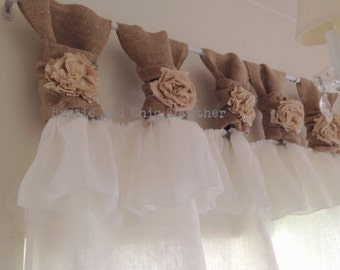White Linen And Burlap Ruffles Curtains   Wide Ruched Tabs   Tea Dyed  Rosette