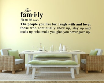 Dictionary Definition of Family Live For Laugh With Love Entry Living Room Hall Vinyl Wall Art Decal