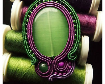 Green Quartz Cat's Eye beautiful soutache pendant