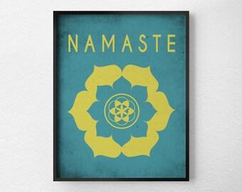 Namaste Lotus,Yoga Print, Yoga Studio Decor, Typography Poster, Wall Art, Inspirational Print, Yoga Poster, Motivational Art, 0160