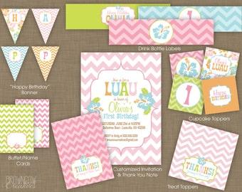 PRINTABLE Pink Chevron Luau Party Decoration Kit