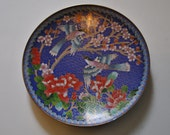 The Azure-winged Magpie - Vintage collectable metal cloisonne plate - Bradford exchange Number 10-C28-1.1 - rare