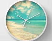 Wall clock beach art beach photography office decor dorm decor wall art mint nursery decor white aqua clock modern summer decor gift