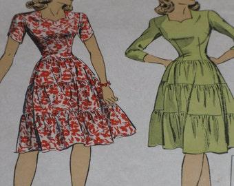 Du Barry 5636 Pattern Misses' & Jr. Tiered Dress Size 13 Bust 31 Vintage 1943 Counted