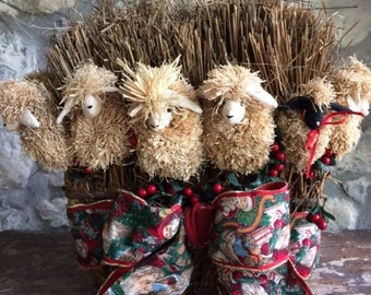 Decorative Christmas Table Basket with Sheep
