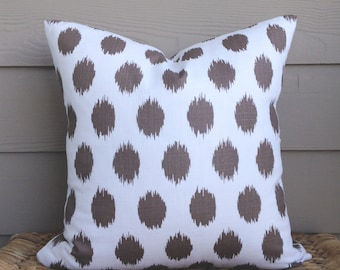 "15% OFF! Brown Pillow Cover. 18"" x 18"". Ikat Dots Pillow Cover. Decorative Pillow Cover."