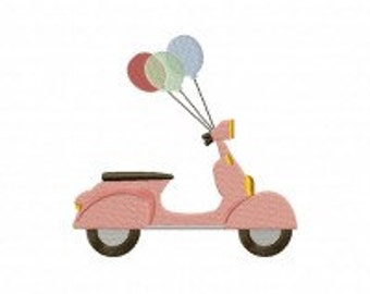Scooter Balloons Machine Embroidery Design