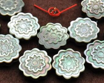 Black Shell carved flower beads 18mm,22 pcs