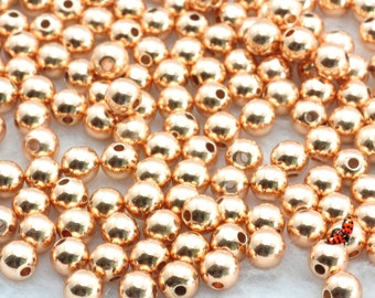 Rose Gold plated round  Spacer Beads 6mm,50 pcs