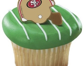 12 NFL San Francisco 49ers Football Helmet Cupcake Rings