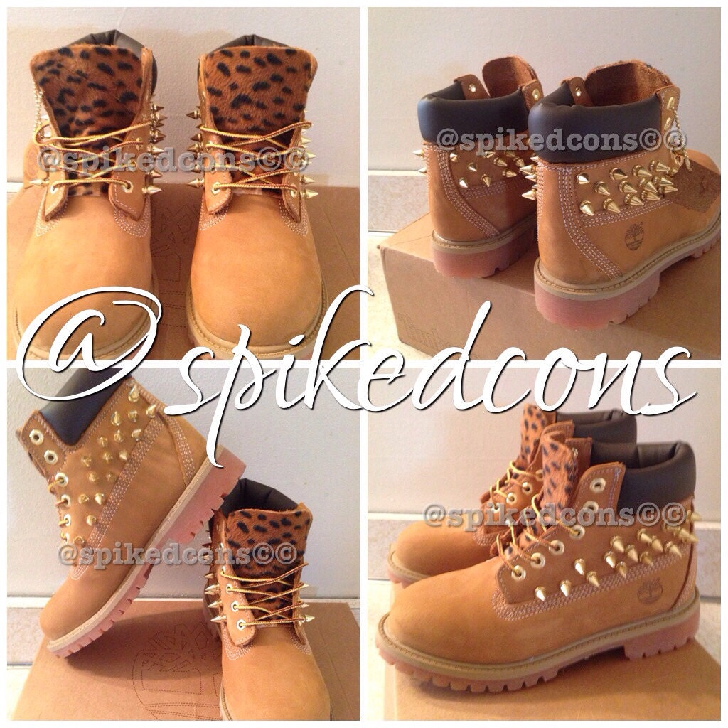 Customized Timberlands With Spikes Spiked Timberlands Youth Sizes