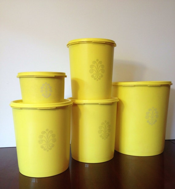 Vintage Yellow Tupperware Canister Set 5 / With Lids