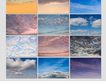 INSTANT DOWNLOAD, North East Sky & Cloud Overlays, Tools for Photographers, Easy to Mask,  blown skies, Photography,  Editing, Photoshop
