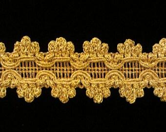 "736.5 Metallic gold trim - ""Medallion"" - Tudor Gold - 1-3/8"""