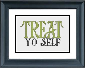 Treat Yo Self - Parks and Recreation - PDF Cross-Stitch Pattern