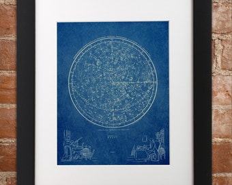 Vintage Northern Hemisphere Art Print | Astronomy Stars Constellation Star Map Chart Sky Astronomical Space Poster