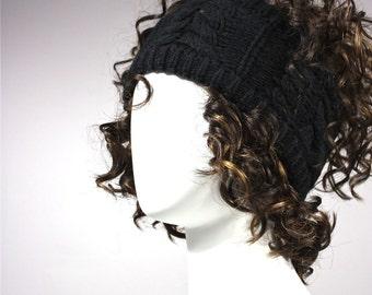 Knitted headband in Black, black headband,  black headwrap,  Earwarmer, HeadBand, knit headband