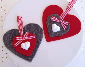 Heart red or grey-Decoration for the Christmas tree