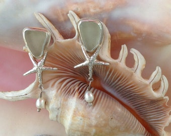 Sea glass starfish and freshwater pearls sterling silver earrings