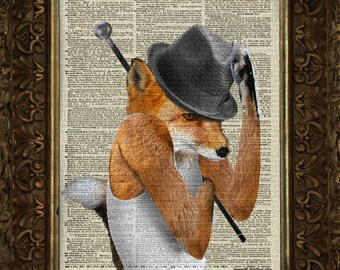Fox Dance Exposed Improv - on 100 yr old Antique Dictionary Page, Dictionary Print, Wall Decor, Wall Decor, Book Art