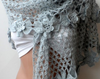 ON SALE Gray Crocheted Shawls Wraps Mothers day gifts shawls Handmade scarf Summer shawls floral shawls wedding shawls Valentines day gifts