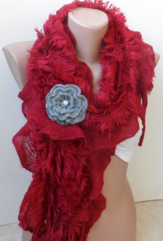 Christmas scarves red ruffle scarf winter by